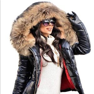 Jackets & Blazers - winter coat fur collar hooded down jacket parka